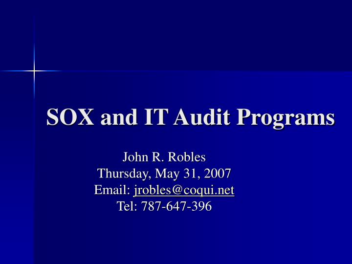 Sox and it audit programs l.jpg