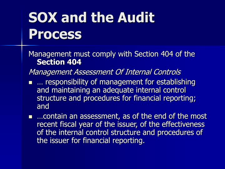 Sox and the audit process