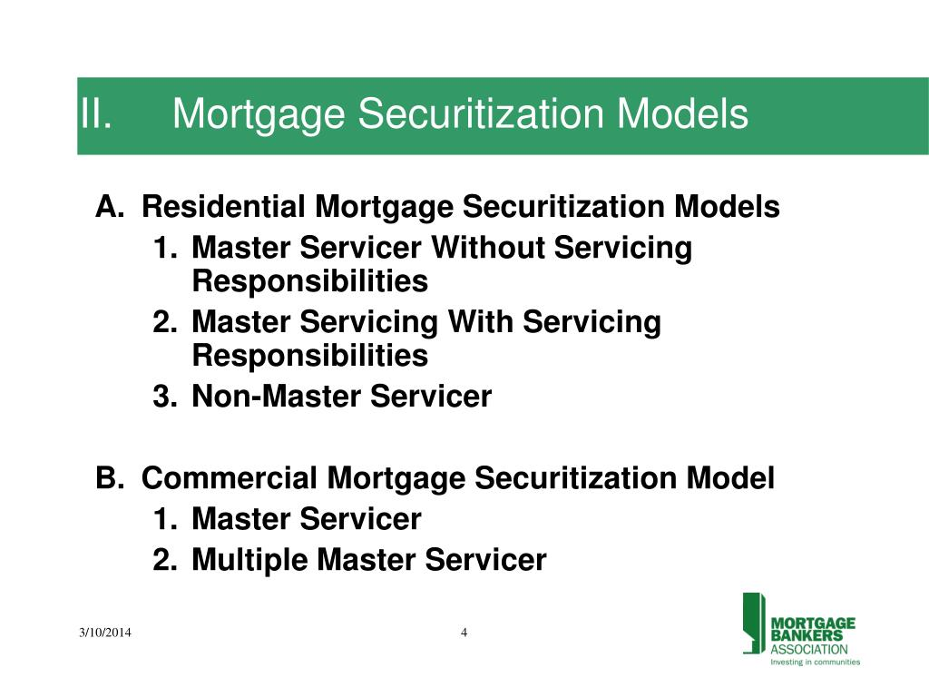 II.	Mortgage Securitization Models
