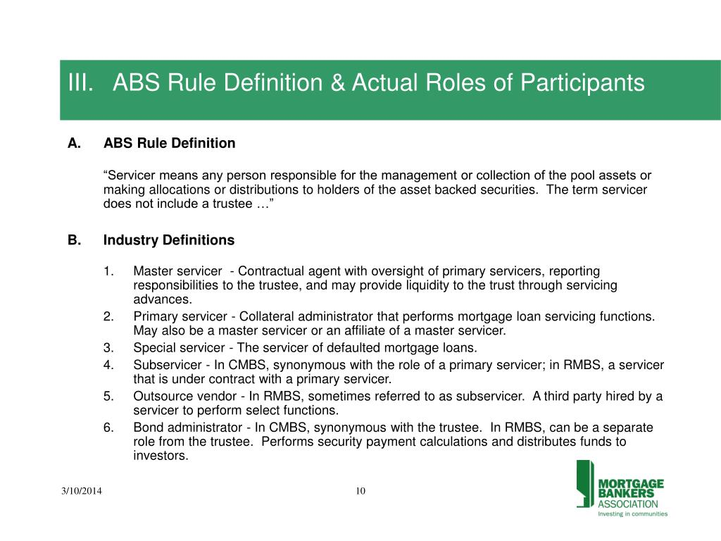 III.   ABS Rule Definition & Actual Roles of Participants