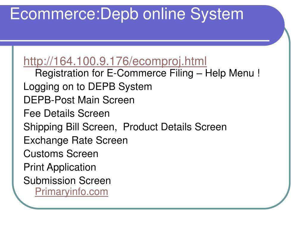 Ecommerce:Depb online System