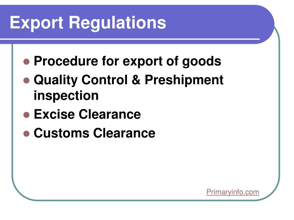 Export Regulations