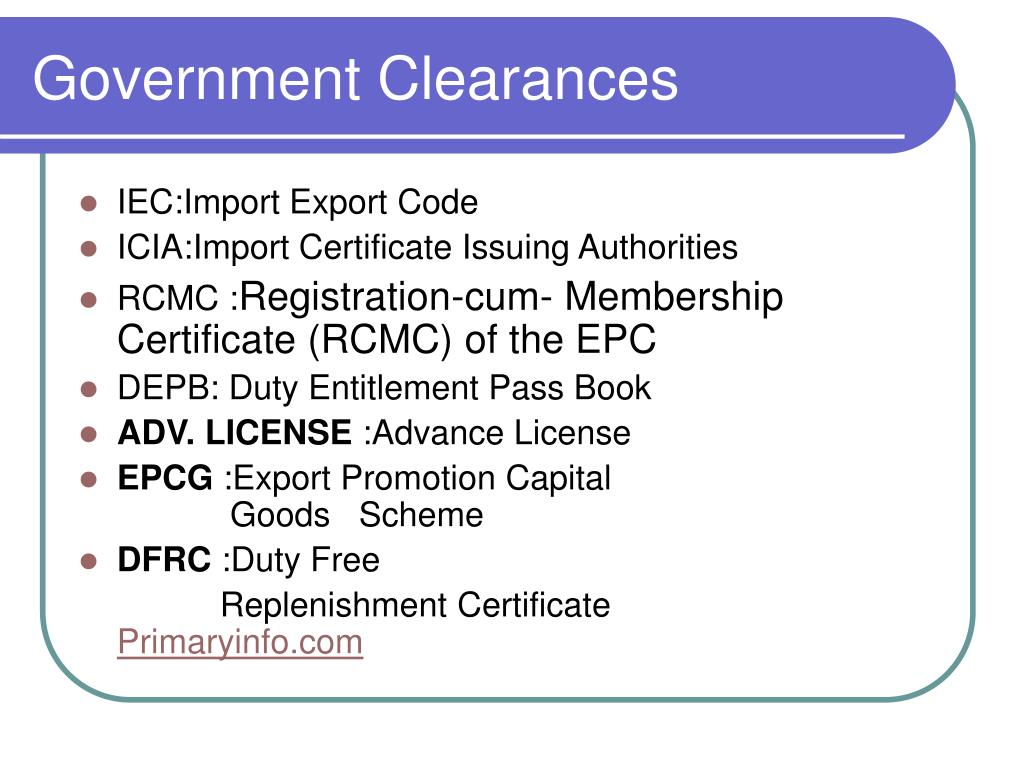 Government Clearances
