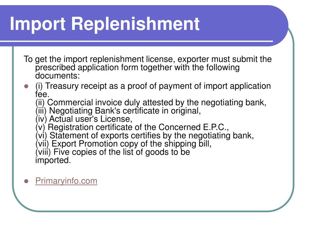 Import Replenishment