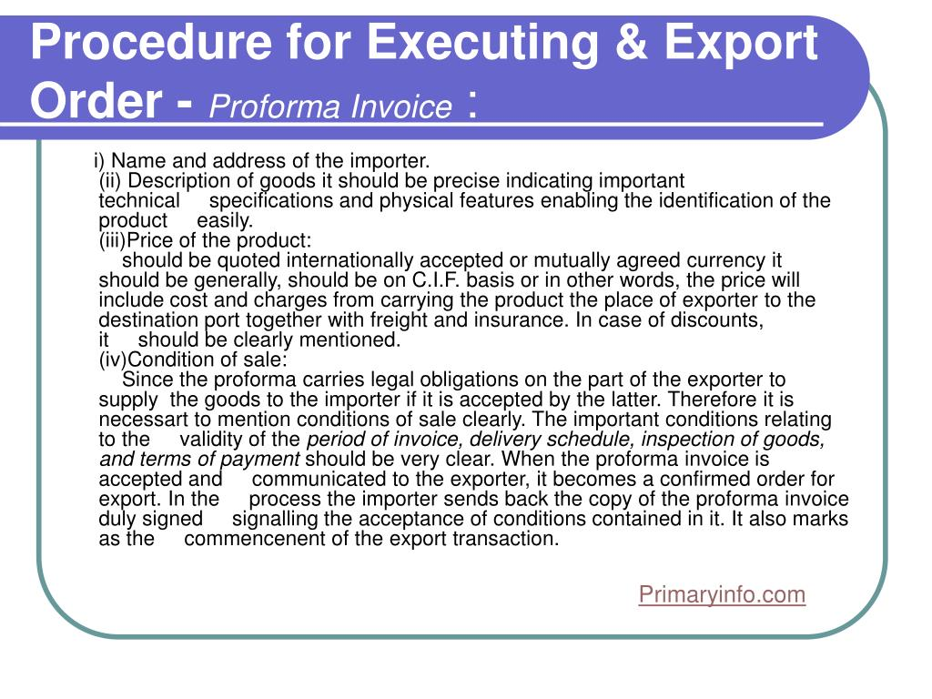 Procedure for Executing & Export Order -