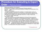 procedure for executing export order proforma invoice