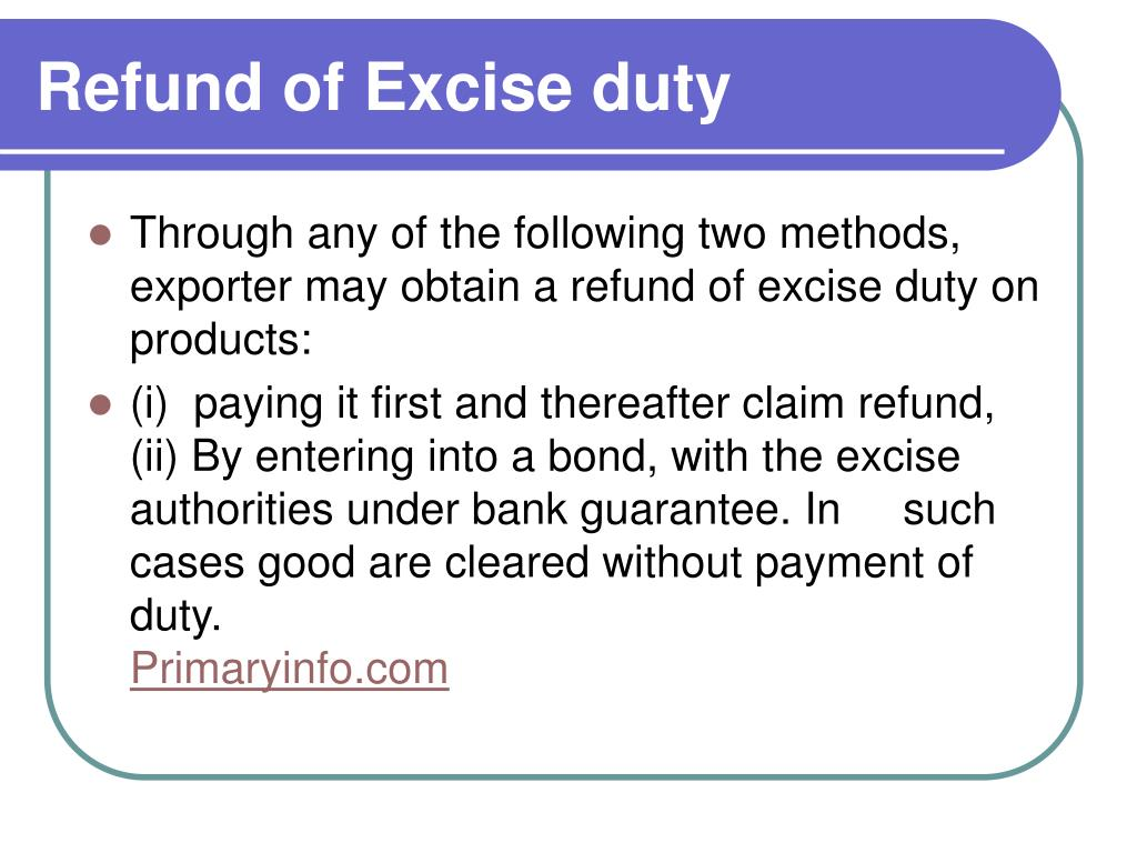 Refund of Excise duty