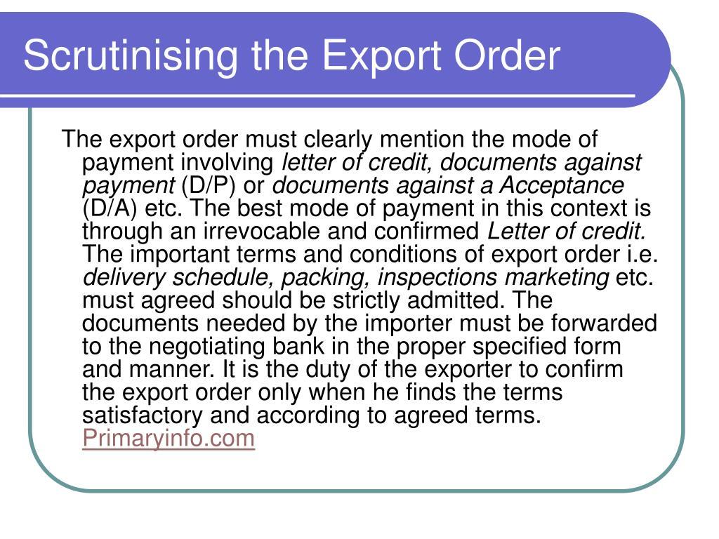 Scrutinising the Export Order