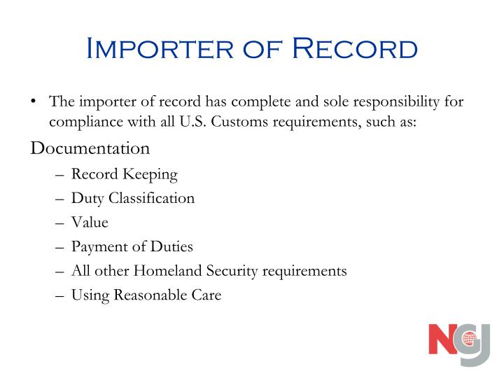 Importer of record