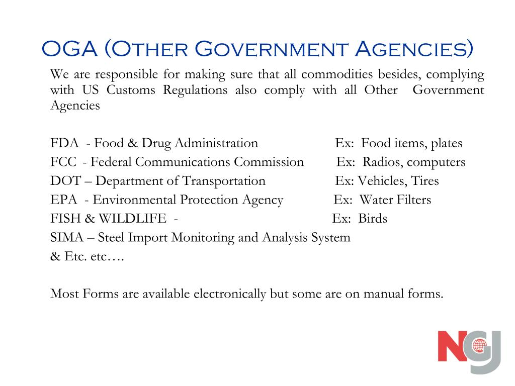OGA (Other Government Agencies)