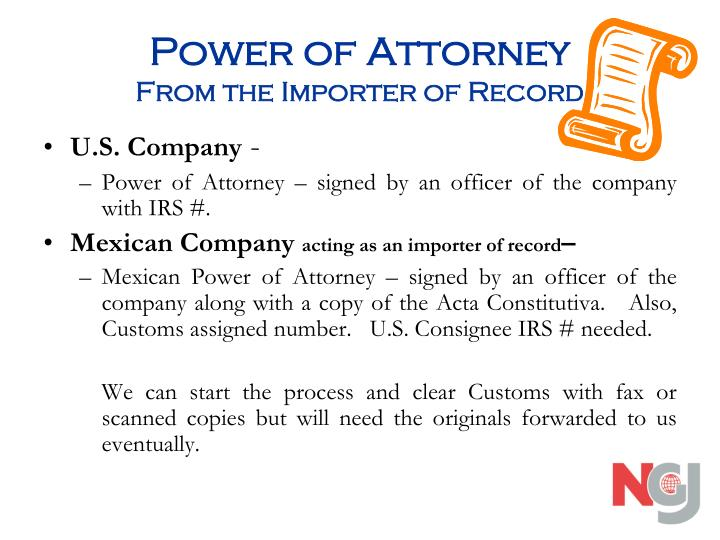 Power of attorney from the importer of record