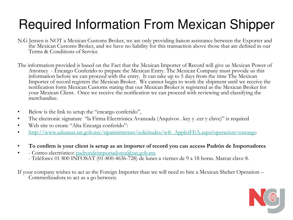 Required Information From Mexican Shipper