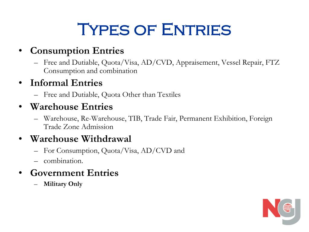 Types of Entries