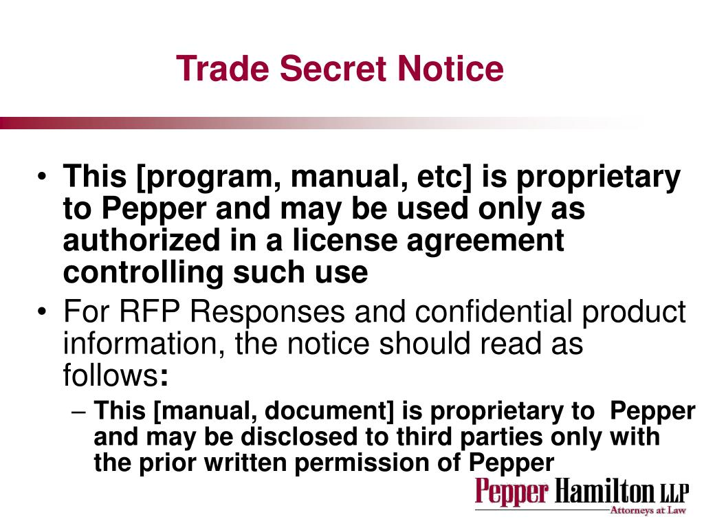 Trade Secret Notice
