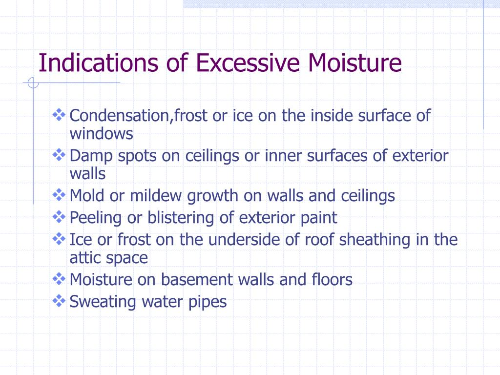 Indications of Excessive Moisture