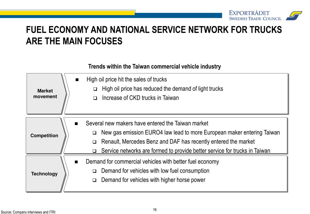 FUEL ECONOMY AND NATIONAL SERVICE NETWORK FOR TRUCKS ARE THE MAIN FOCUSES