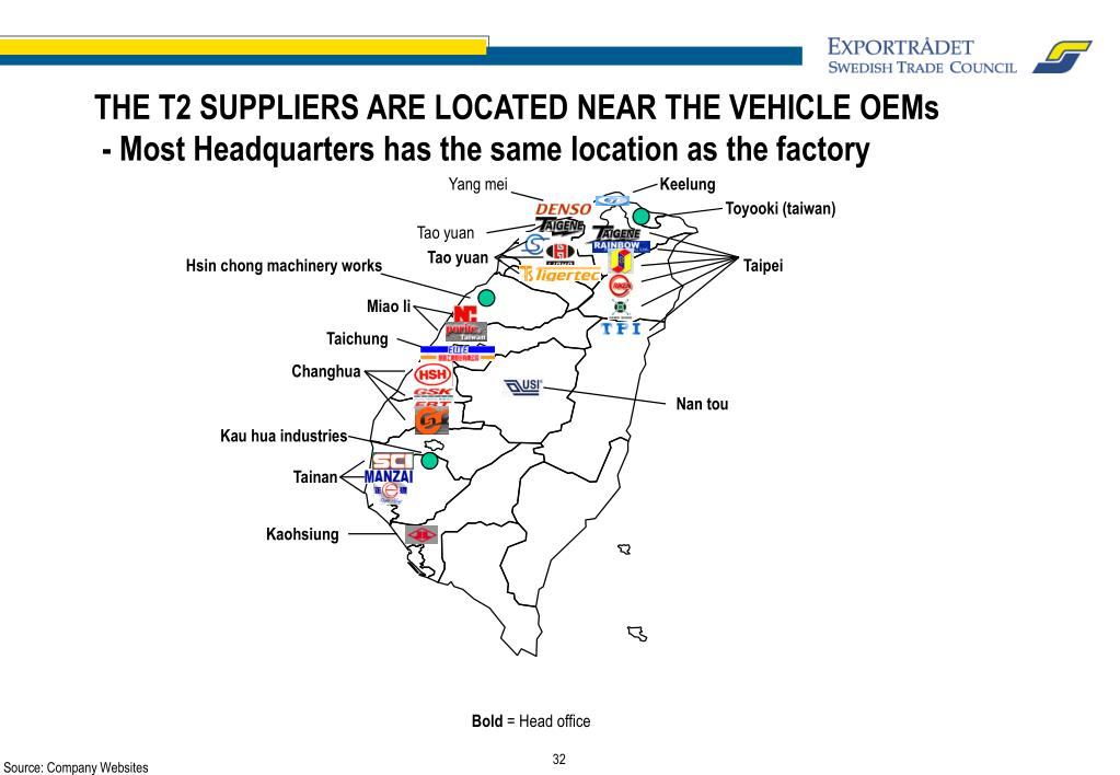 THE T2 SUPPLIERS ARE LOCATED NEAR THE VEHICLE OEMs