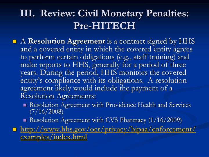 III.  Review: Civil Monetary Penalties:  Pre-HITECH
