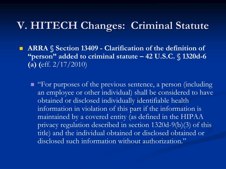 V. HITECH Changes:  Criminal Statute