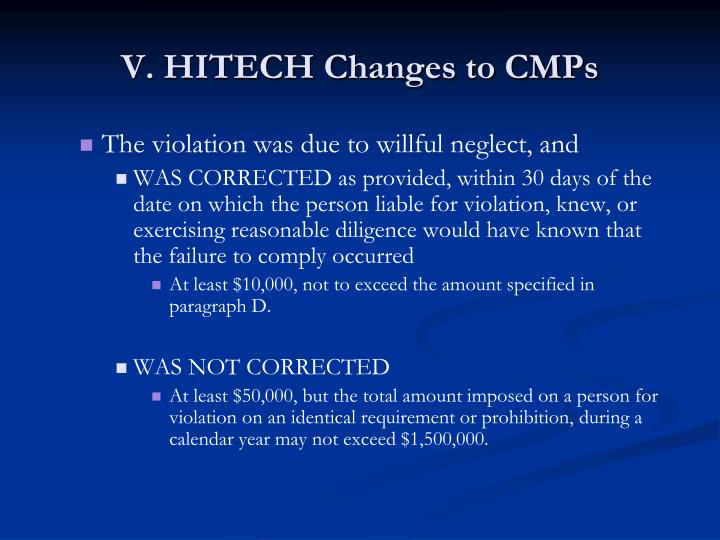 V. HITECH Changes to CMPs