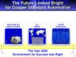 the future looked bright for cooper standard automotive