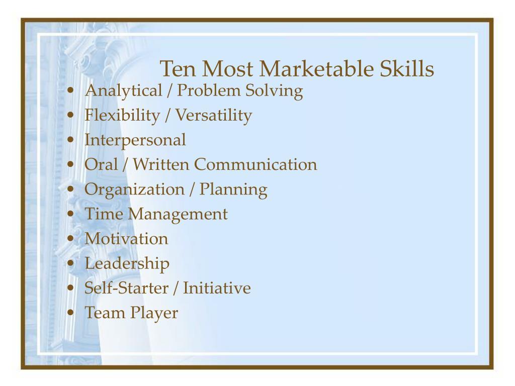 Ten Most Marketable Skills