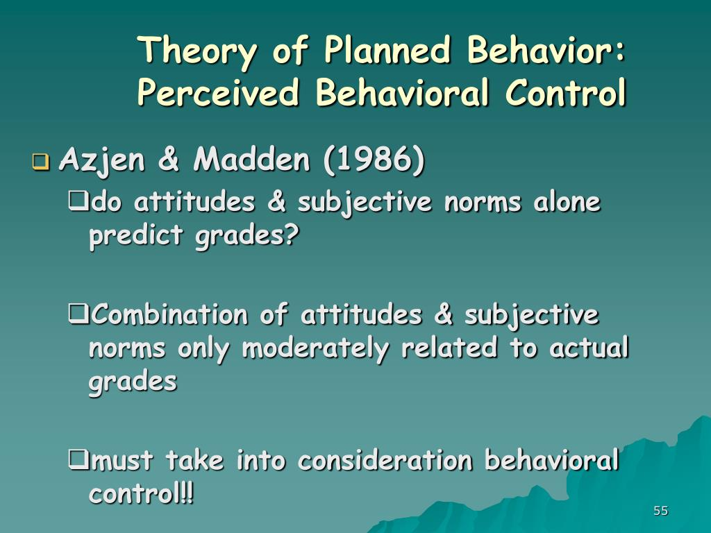 Theory of Planned Behavior: