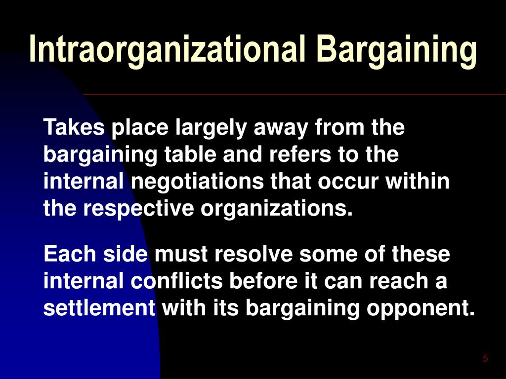 intra organization and power bargaining model Abstract international relations theory has long seen the origins, conduct, and termination of war as a bargaining process recent formal work on these issues draws.