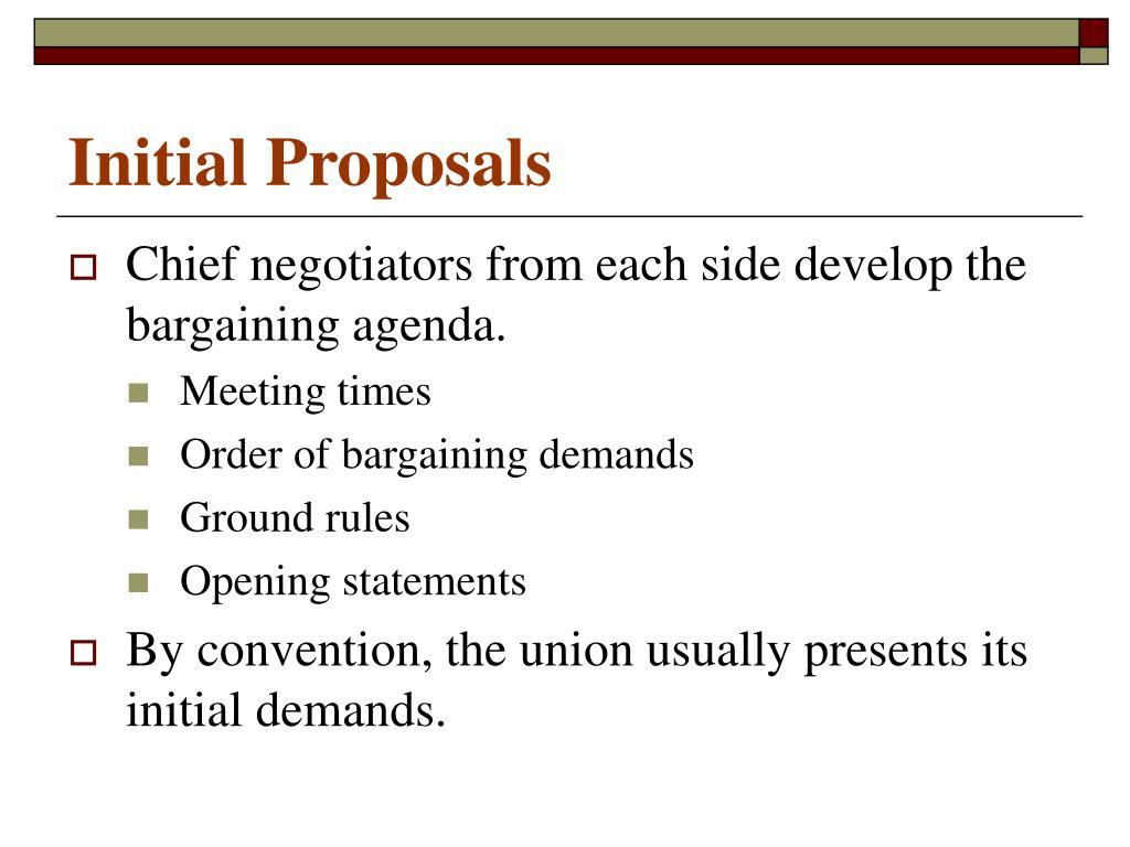 Initial Proposals