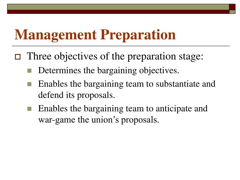 Management Preparation