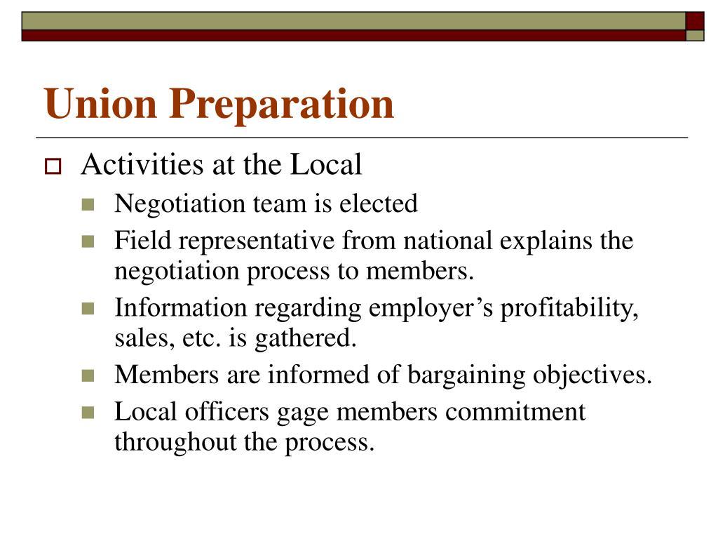Union Preparation