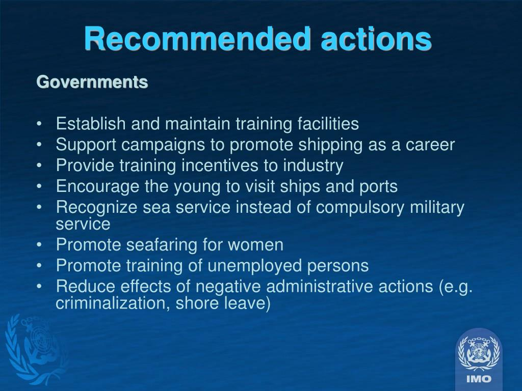 Recommended actions