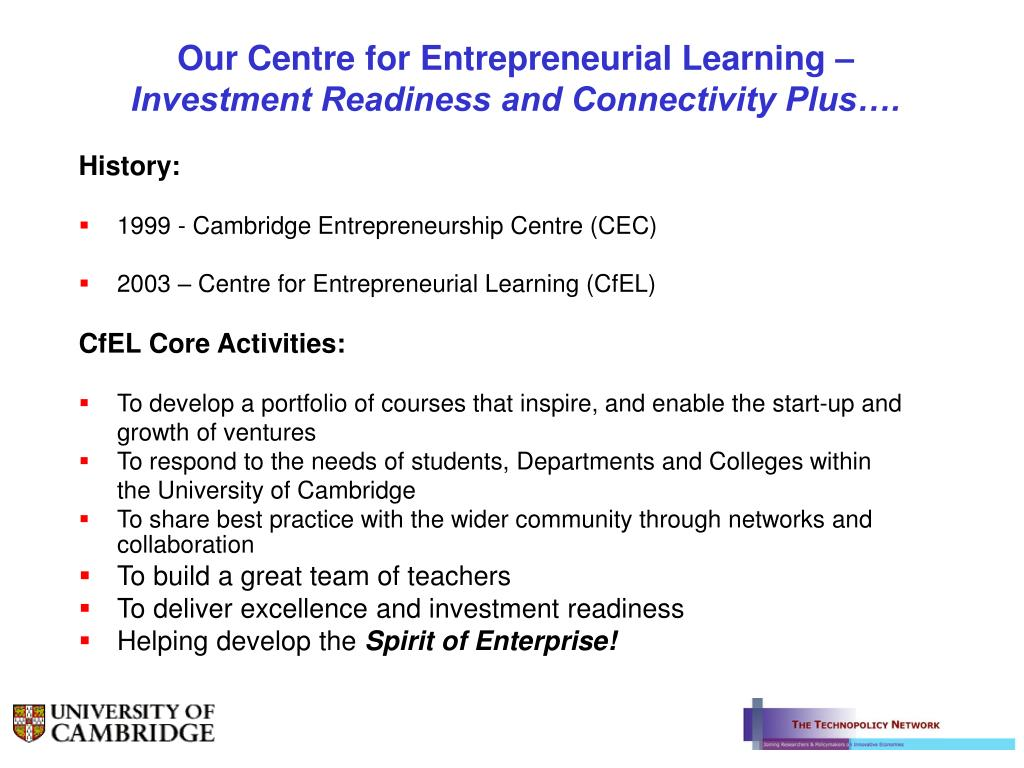 Our Centre for Entrepreneurial Learning –