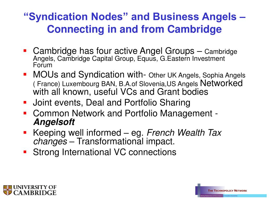 """Syndication Nodes"" and Business Angels – Connecting in and from Cambridge"