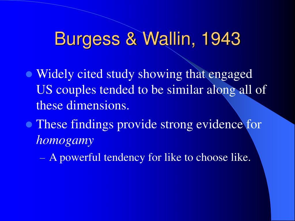Burgess & Wallin, 1943