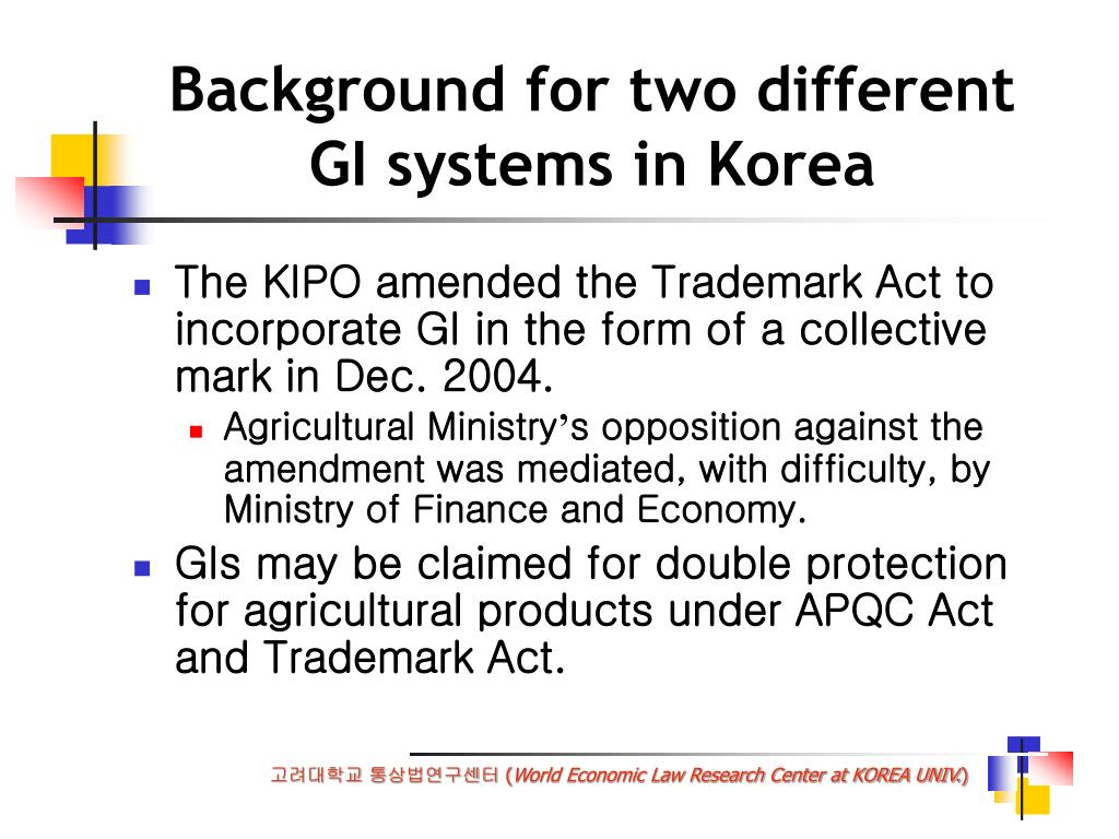 Background for two different    GI systems in Korea