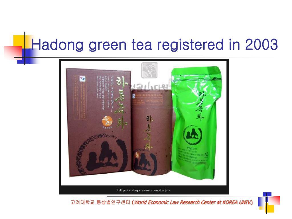 Hadong green tea registered in 2003