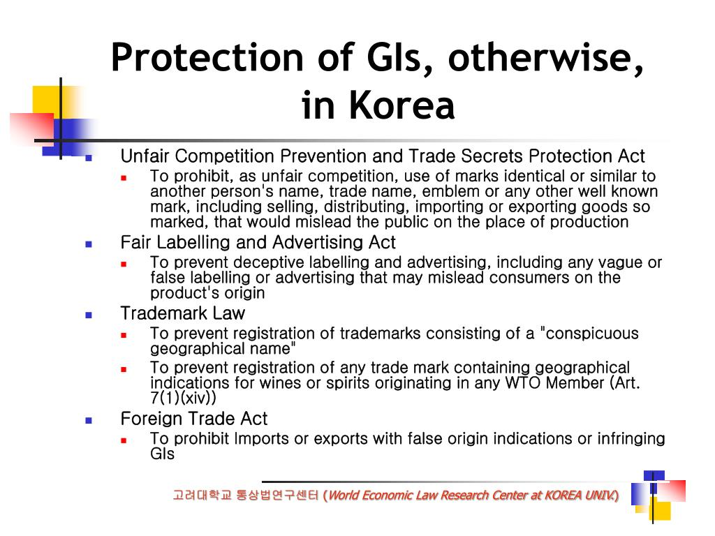 Protection of GIs, otherwise,