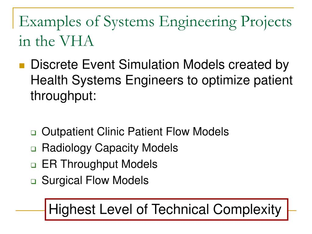 Examples of Systems Engineering Projects in the VHA