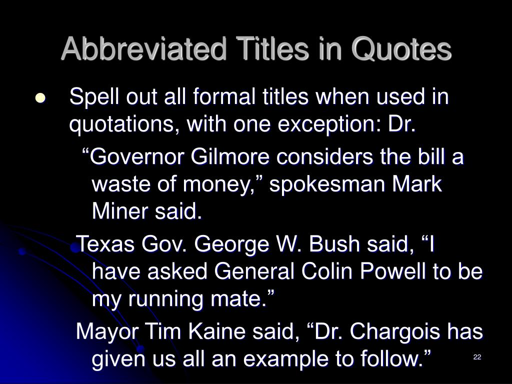 Abbreviated Titles in Quotes