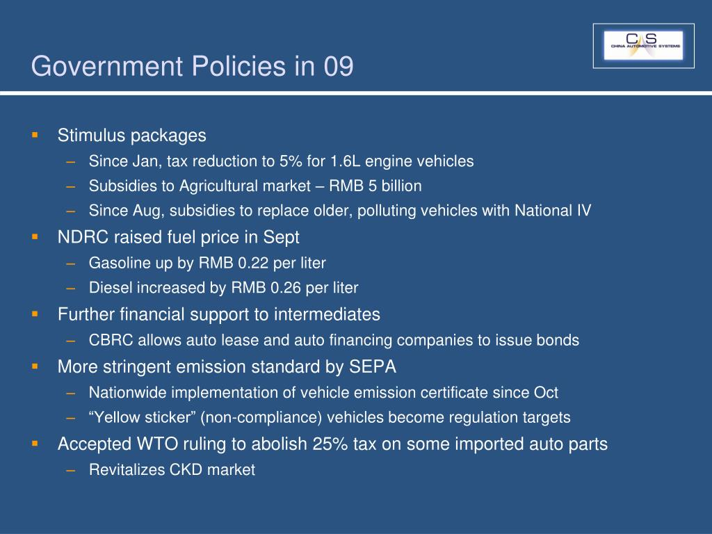 Government Policies in 09