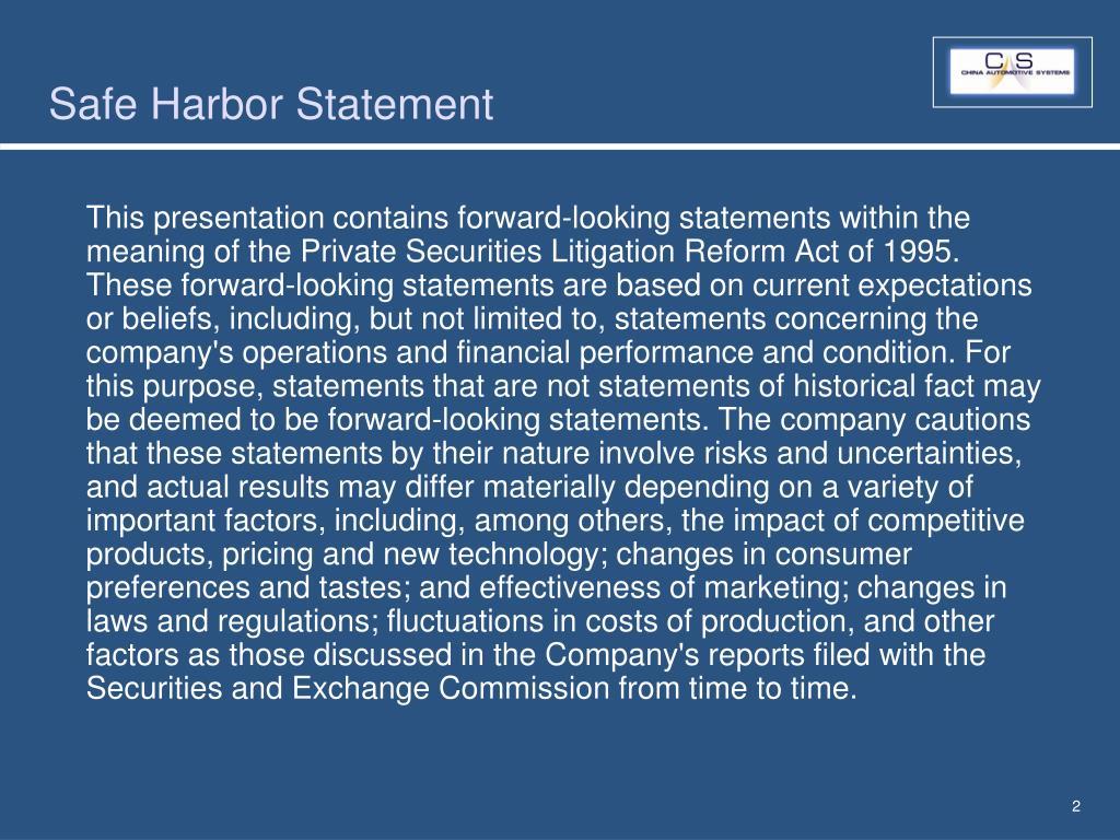 Safe Harbor Statement