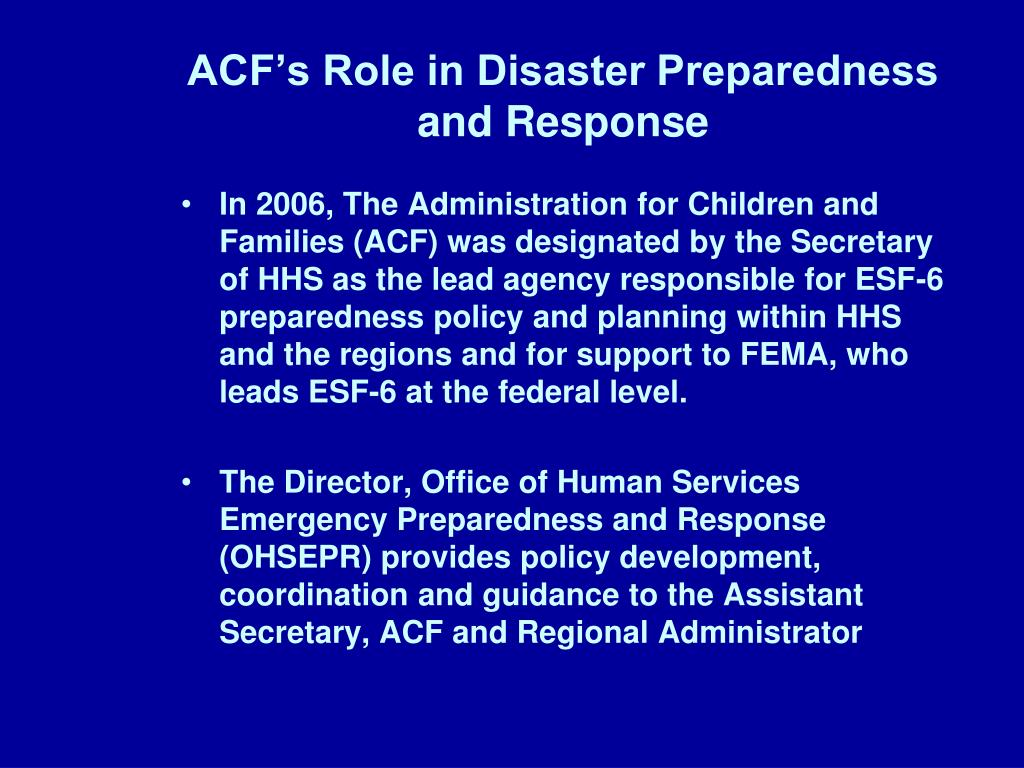 ACF's Role in Disaster Preparedness and Response