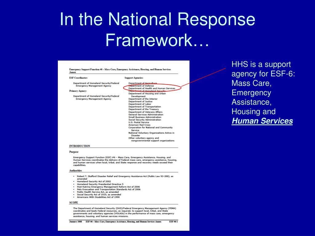 In the National Response Framework…