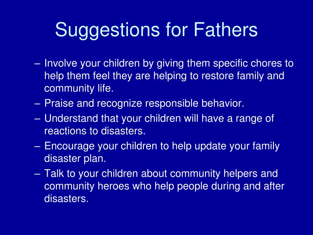 Suggestions for Fathers