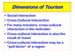 dimensions of tourism