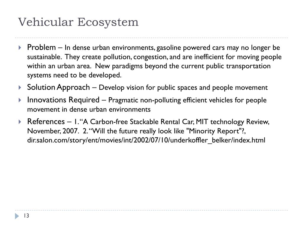 Vehicular Ecosystem