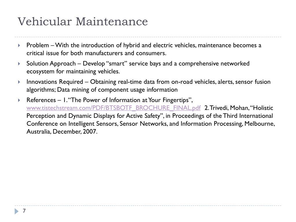 Vehicular Maintenance