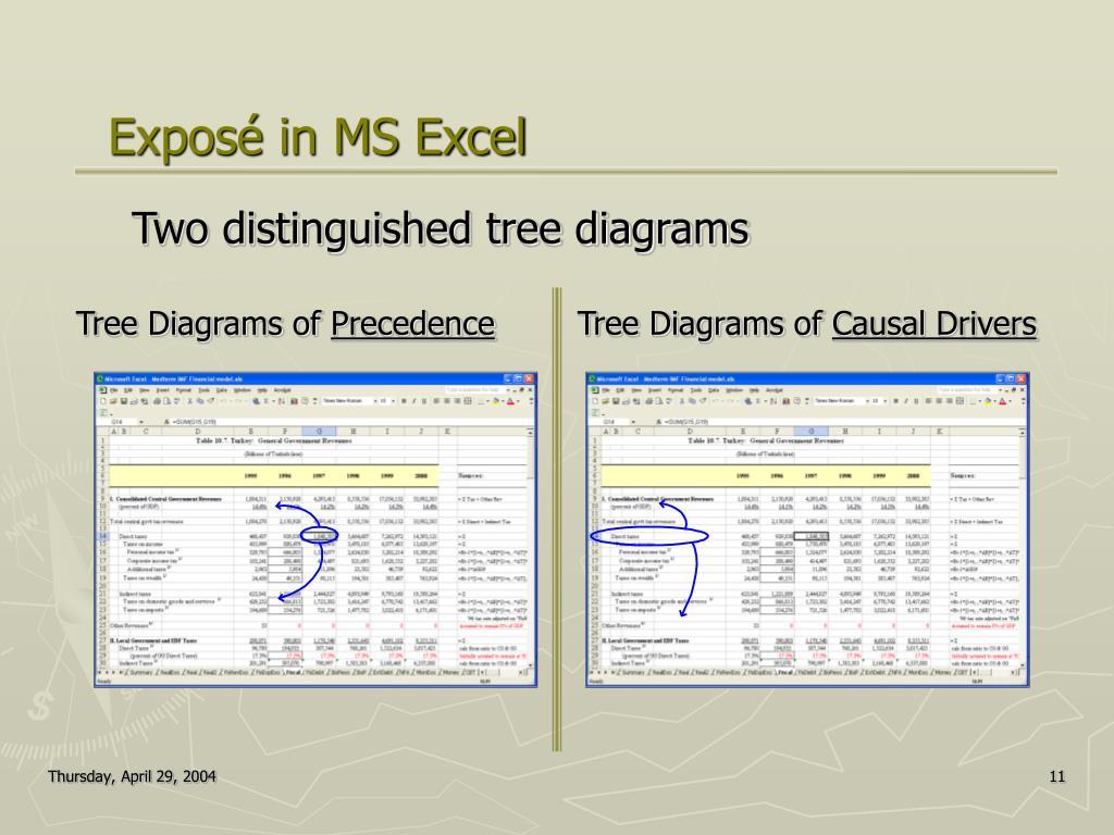 Exposé in MS Excel