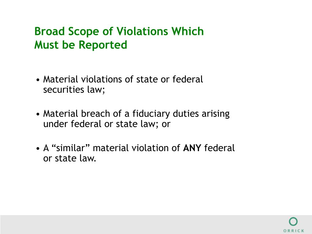 Broad Scope of Violations Which Must be Reported